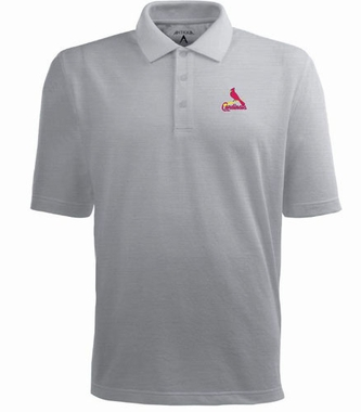 St Louis Cardinals Mens Pique Xtra Lite Polo Shirt (Color: Gray)