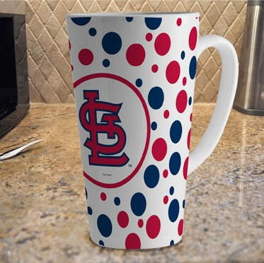 St Louis Cardinals Polkadot 16 oz. Ceramic Latte Mug