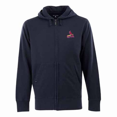 St Louis Cardinals Mens Signature Full Zip Hooded Sweatshirt (Alternate Color: Navy)
