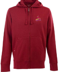 St Louis Cardinals Mens Signature Full Zip Hooded Sweatshirt (Team Color: Red) - X-Large
