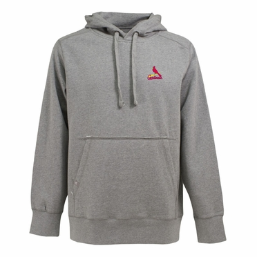 St Louis Cardinals Mens Signature Hooded Sweatshirt (Color: Gray)