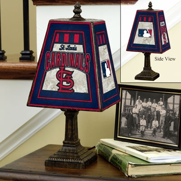 St Louis Cardinals Small Art Glass Lamp