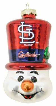 St Louis Cardinals Tophat Snowman Glass Ornament
