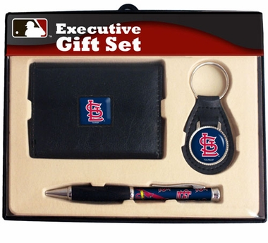 St Louis Cardinals Trifold Wallet Key Fob and Pen Gift Set