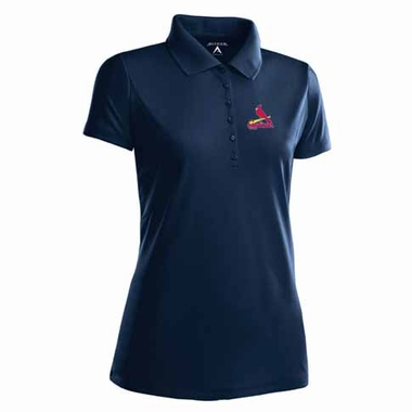 St Louis Cardinals Womens Pique Xtra Lite Polo Shirt (Color: Navy)