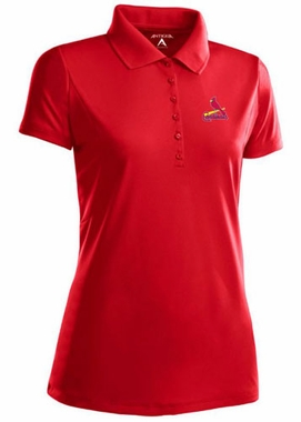 St Louis Cardinals Womens Pique Xtra Lite Polo Shirt (Color: Red) - Small