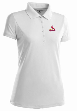 St Louis Cardinals Womens Pique Xtra Lite Polo Shirt (Color: White)