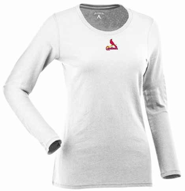 St Louis Cardinals Womens Relax Long Sleeve Tee (Color: White)