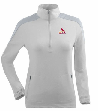 St Louis Cardinals Womens Succeed 1/4 Zip Performance Pullover (Color: White) - Small