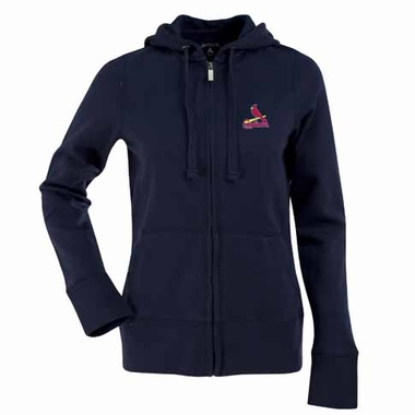 St Louis Cardinals Womens Zip Front Hoody Sweatshirt (Alternate Color: Navy)