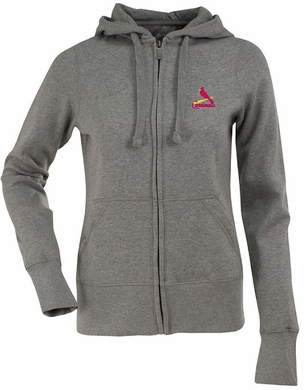 St Louis Cardinals Womens Zip Front Hoody Sweatshirt (Color: Gray)