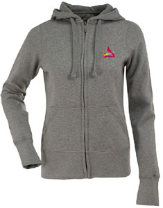 St Louis Cardinals Womens Zip Front Hoody Sweatshirt (Color: Gray) - Large