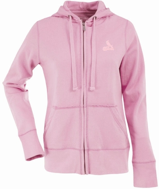 St Louis Cardinals Womens Zip Front Hoody Sweatshirt (Color: Pink)