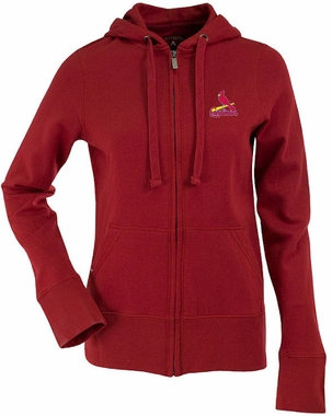 St Louis Cardinals Womens Zip Front Hoody Sweatshirt (Team Color: Red)