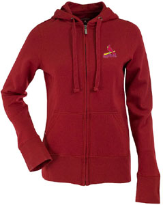 St Louis Cardinals Womens Zip Front Hoody Sweatshirt (Team Color: Red) - Small