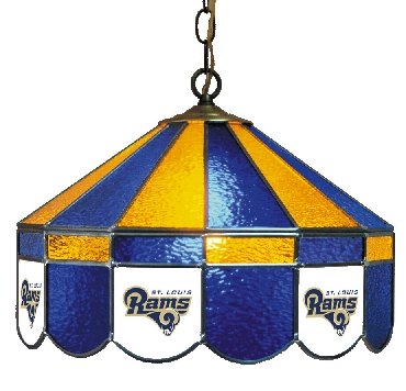 St Louis Rams 16 Inch Diameter Stained Glass Pub Light
