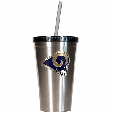 St Louis Rams 16oz Stainless Steel Insulated Tumbler with Straw