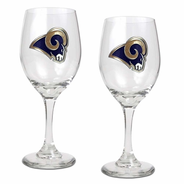 Los Angeles Rams 2 Piece Wine Glass Set