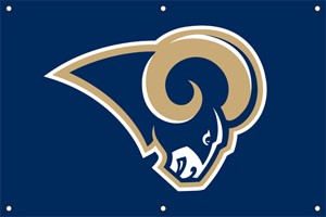 St Louis Rams 2 x 3 Horizontal Applique Fan Banner
