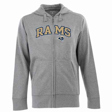 St Louis Rams Mens Applique Full Zip Hooded Sweatshirt (Color: Gray)