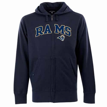 St Louis Rams Mens Applique Full Zip Hooded Sweatshirt (Team Color: Navy)