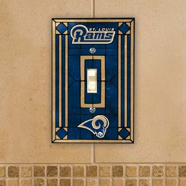 St Louis Rams Art Glass Lightswitch Cover