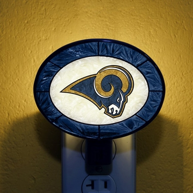 St Louis Rams Art Glass Night Light