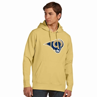 Los Angeles Rams Big Logo Mens Signature Hooded Sweatshirt (Color: Gold)
