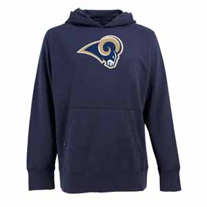 St Louis Rams Big Logo Mens Signature Hooded Sweatshirt (Team Color: Navy) - Small