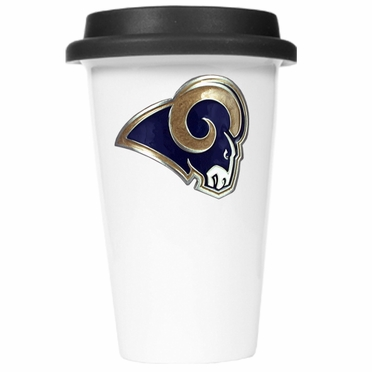 St Louis Rams Ceramic Travel Cup (Black Lid)