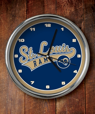 St Louis Rams Chrome Clock