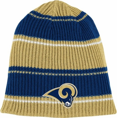 St Louis Rams Cuffless Reversible Team Name and Logo Knit Hat