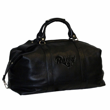 St Louis Rams Debossed Black Leather Captain's Carryon Bag