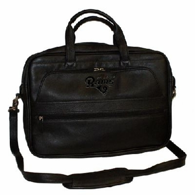 St Louis Rams Debossed Black Leather Laptop Bag
