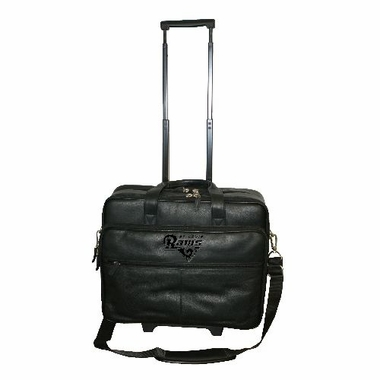 St Louis Rams Debossed Black Leather Terminal Bag