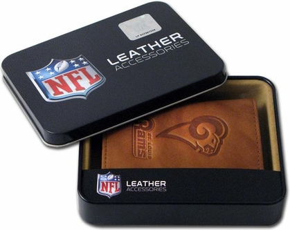 St Louis Rams Embossed Leather Trifold Wallet