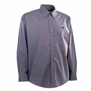 St Louis Rams Mens Esteem Check Pattern Button Down Dress Shirt (Team Color: Navy) - Large