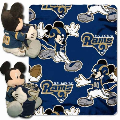 St Louis Rams Mickey Mouse Pillow / Throw Combo