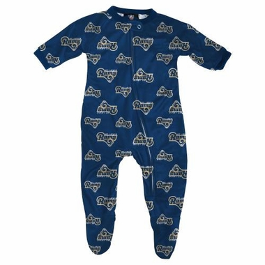 St. Louis Rams NFL Infant Footed Raglan Zip Up Sleeper