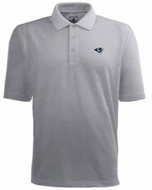 St Louis Rams Mens Pique Xtra Lite Polo Shirt (Color: Gray)