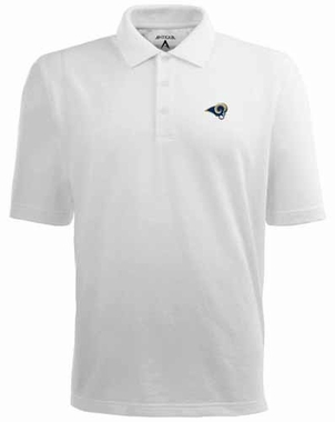 St Louis Rams Mens Pique Xtra Lite Polo Shirt (Color: White)