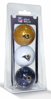 St Louis Rams Set of 3 Multicolor Golf Balls