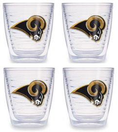St Louis Rams Set of FOUR 12 oz. Tervis Tumblers