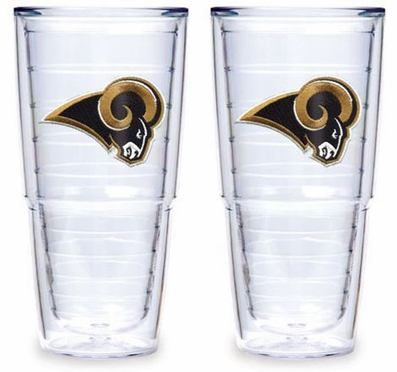 """St Louis Rams Set of TWO 24 oz. """"Big T"""" Tervis Tumblers"""