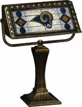 St Louis Rams Stained Glass Bankers Lamp