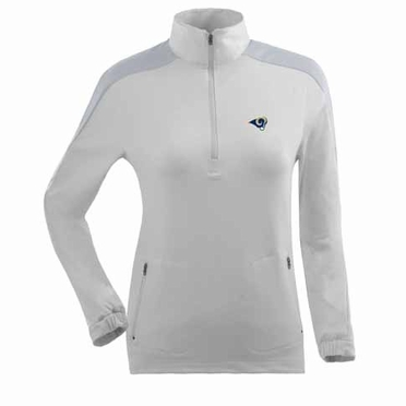 St Louis Rams Womens Succeed 1/4 Zip Performance Pullover (Color: White)