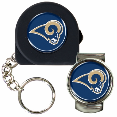 St Louis Rams Tape Measure Key Chain and Money Clip Set