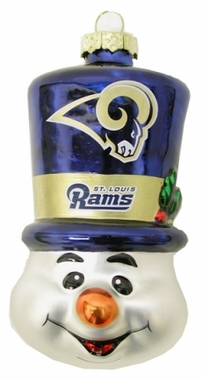 St Louis Rams Tophat Snowman Glass Ornament