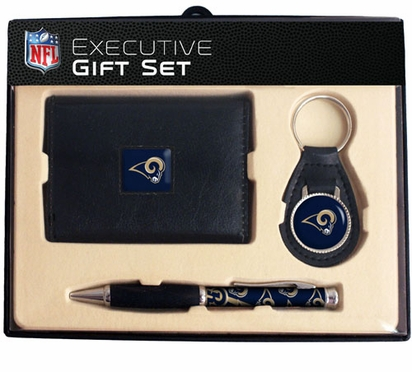St Louis Rams Trifold Wallet Key Fob and Pen Gift Set