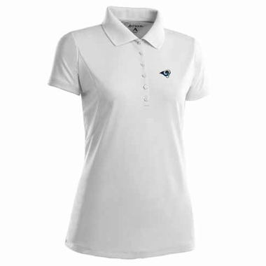 Los Angeles Rams Womens Pique Xtra Lite Polo Shirt (Color: White)